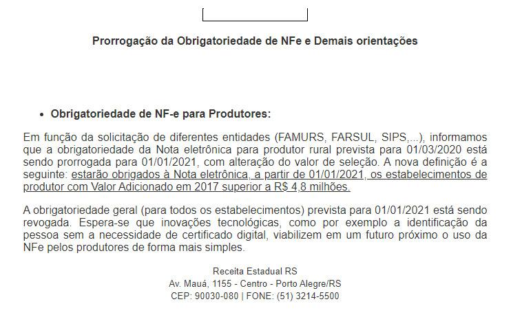 Prorrogação da Obrigatoriedade de NFe